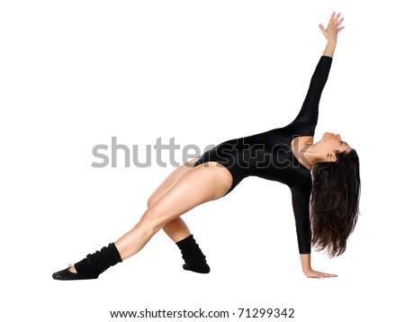 cool looking girl dances jazz modern dance - stock photo