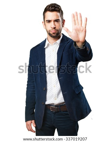 cool man doing a stop gesture