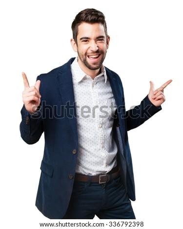 cool man doing a winner gesture - stock photo