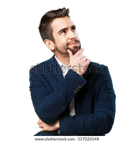 cool man pensive - stock photo