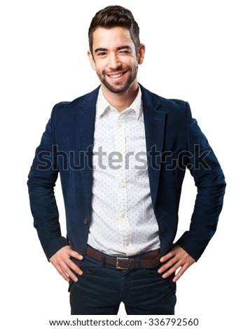 cool man smiling - stock photo