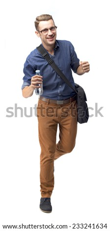 cool man walking with a water bottle - stock photo