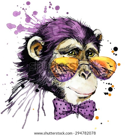 Cool monkey chimpanzee T-shirt graphics, monkey illustration with splash watercolor textured background. unusual illustration watercolor monkey for fashion print, poster for textiles, fashion design - stock photo