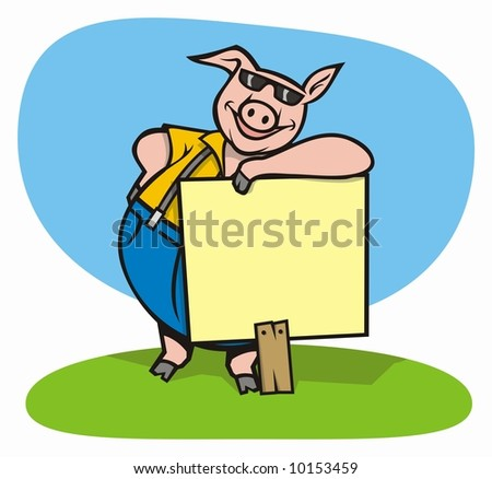 cool pig cartoon with sign to pass your message