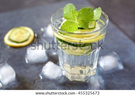 Cool refreshing drink: pure water, ice, lemon, cucumber and mint
