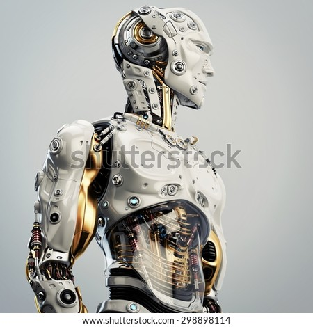 Cool robot upper body in side view / Artificial man - stock photo