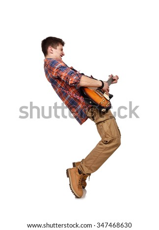Cool rock man playing an electric guitar isolated on white background