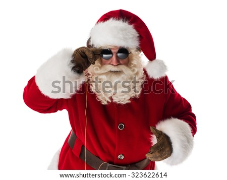 Cool Santa Claus Portrait Isolated on White Background