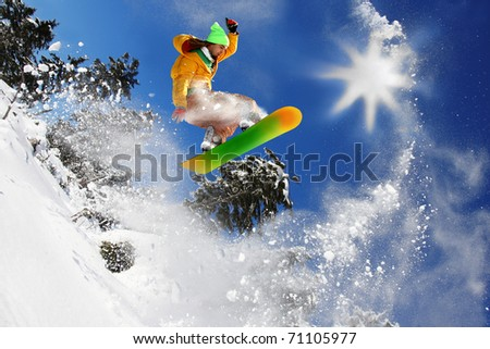 Cool snowboarder against blue sky