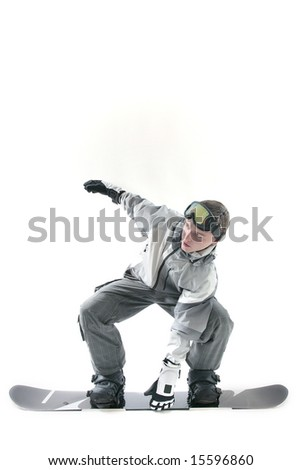 Cool snowboarder doing indy grab, isolated - stock photo