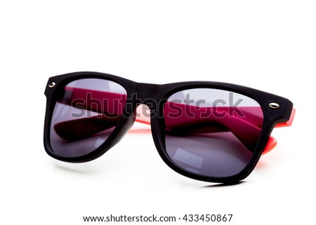 Cool sunglasses isolated on white background. In black plastic frame