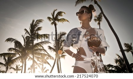 Cool trendy modern young women on summer holidays vacation on tropical beach, Dominican Republic - stock photo