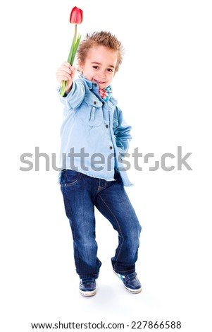 Cool urban little boy in jeans, offering red tulip - stock photo