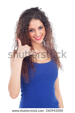 """Cool woman with big eyes saying """"Call me"""" isolated on a white background - stock photo"""