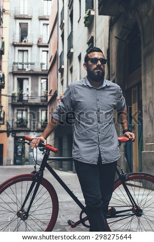 Young Hipster Man On Fixie Bicycle Stock Photo 304115090