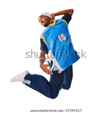 Cool young breakdancer isolated on white background