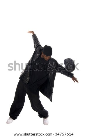 Cool young hip-hop dancer on white background