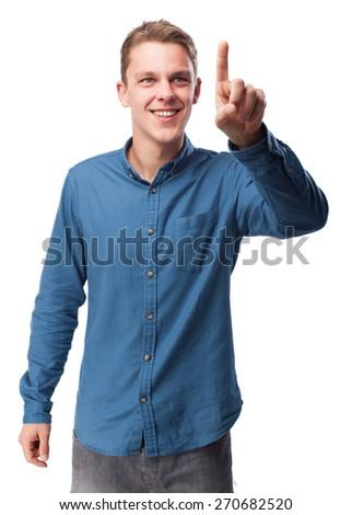 cool young-man touching-screen - stock photo