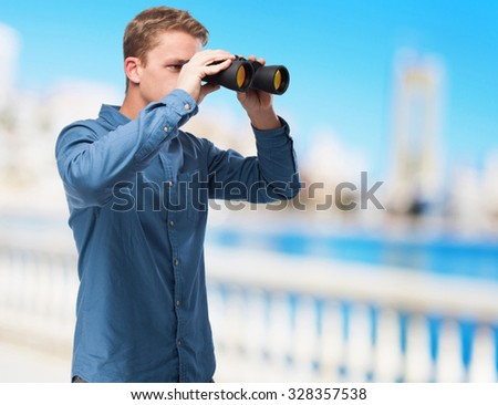 cool young-man with binoculars