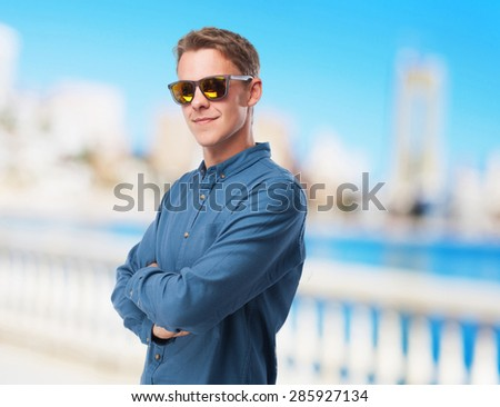 cool young-man with sunglasses - stock photo