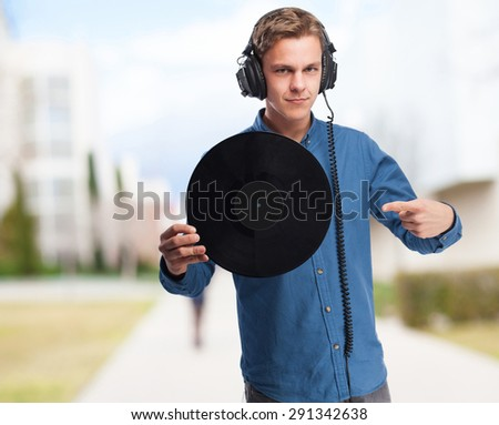 cool young-man with vinyl