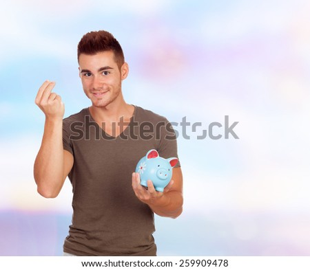 Cool young men with a money box on a blue background - stock photo