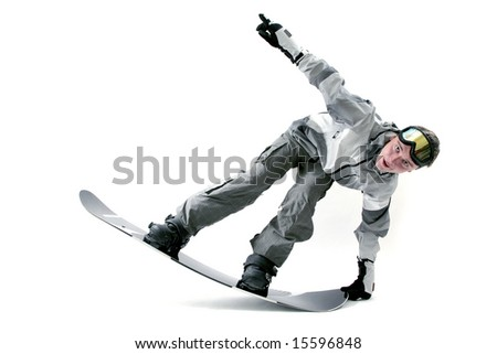 Cool young snowboarder on his board - stock photo