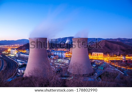 Cooling tower of heavy industry factory in Beijing - stock photo