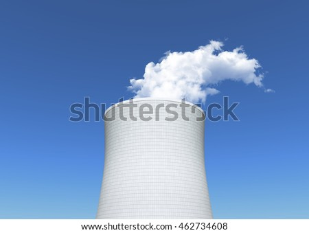 Cooling tower of nuclear power plant. 3D illustration.