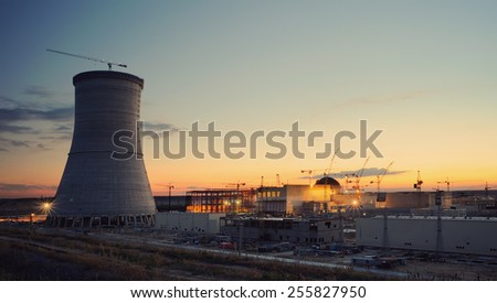 Cooling tower of nuclear power plant under construction at Russia - stock photo