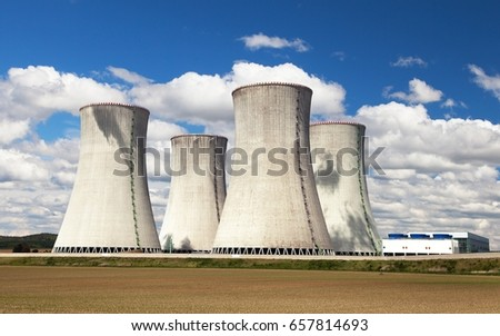Cooling tower with clouds, nuclear power plant Dukovany, Czech Republic