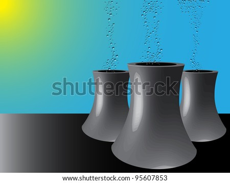 cooling towers, abstract art illustration