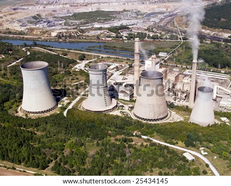 Cooling towers, aerial view - stock photo