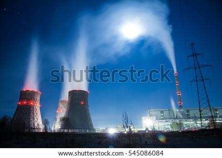 Cooling towers in moon light.