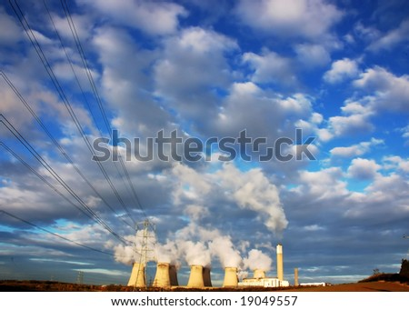 Cooling towers of a power plant in England - stock photo