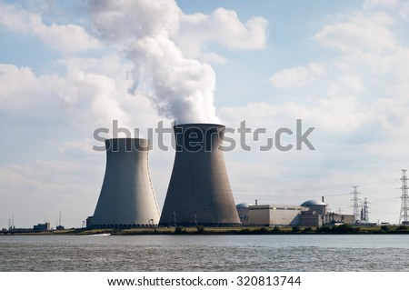 Cooling towers of nuclear power plant of Doel near Antwerp, Belgium - stock photo