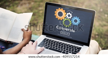 Cooperate Collaboration Team Cog Technology Concept - stock photo