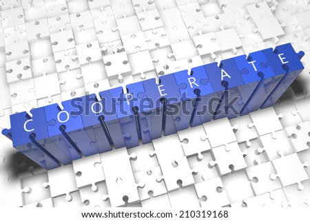 Cooperate - puzzle 3d render illustration with block letters on blue jigsaw pieces  - stock photo