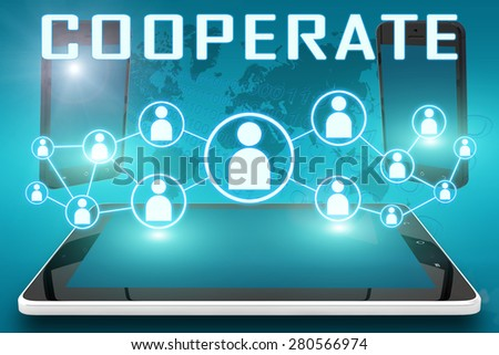 Cooperate - text illustration with social icons and tablet computer and mobile cellphones on cyan digital world map background - stock photo