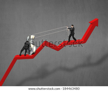 Cooperating to move up money symbol on red arrow concrete wall - stock photo