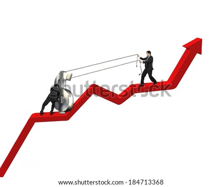 Cooperating to move up money symbol on red arrow in white background - stock photo