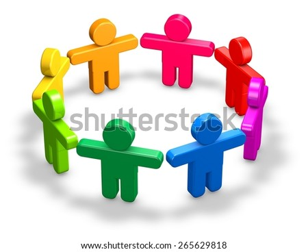 Cooperation and community abstract illustration with 3d people standing on floor, isolated on white.