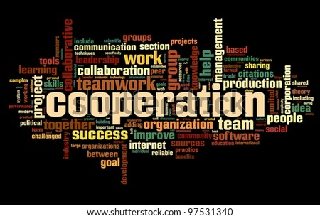 Cooperation and teamwork concept in word tag cloud on black - stock photo