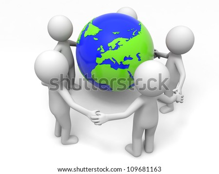 Cooperation/partner/earth/ Five people stand together hand in hand