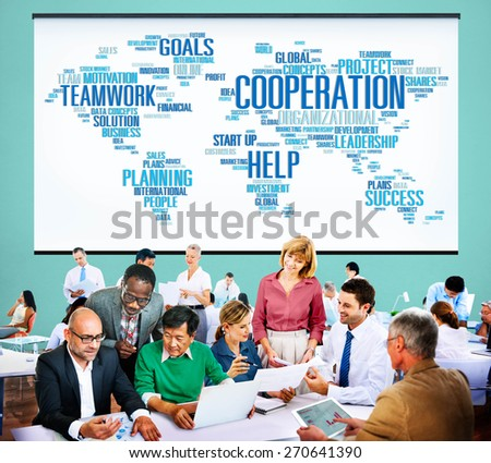 Cooperation Teamwork Assistance Help Support Concept - stock photo