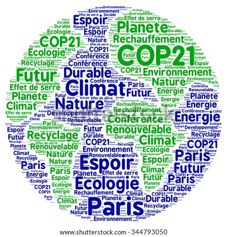COP21 in Paris with french text - stock photo