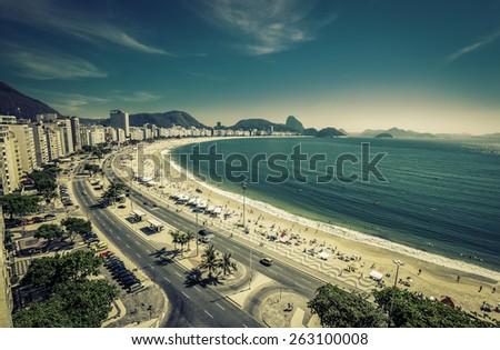 Copacabana Beach and Sugar Loaf Mountain in Rio de Janeiro,Brazil - stock photo