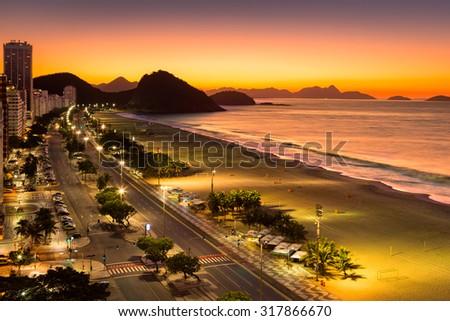 Copacabana Beach at dawn, in Rio de Janeiro, Brazil - stock photo