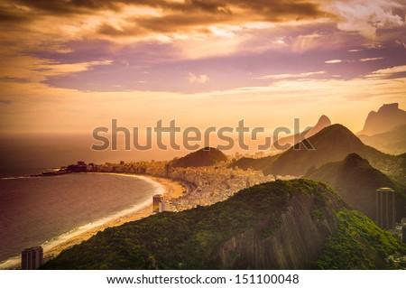 Copacabana Beach at dusk, Rio de Janeiro, Brazil - stock photo