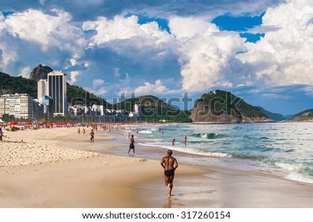 Copacabana beach in Rio de Janeiro. Brazil - stock photo